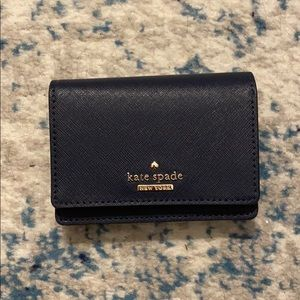 Kate Spade Small Leather Card Wallet (Navy)